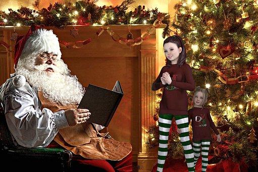 Fantasy, Santa Claus, Children, Girls, Little Girls