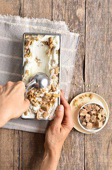 Ice Cream, Cream, Peanut Butter, Nuts, Dessert, Serve