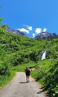 Hike, Wanderer, Hiking, Mountains, Waterfall, Nature