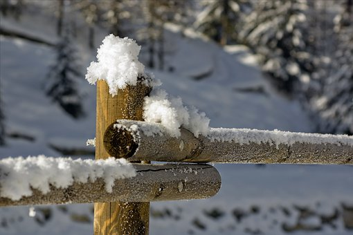 Mountain, Winter, Snow, Cold, Snowfall, Wooden Fence