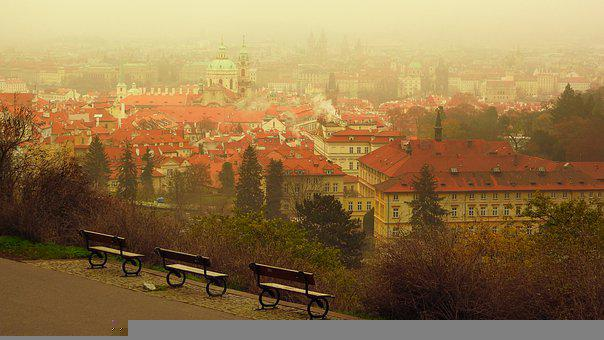 Prague, Old Town, Benches, Buildings, Roofs, City