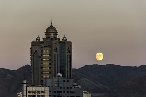 Buildings, Mountains, Moon, Night, Night Sky