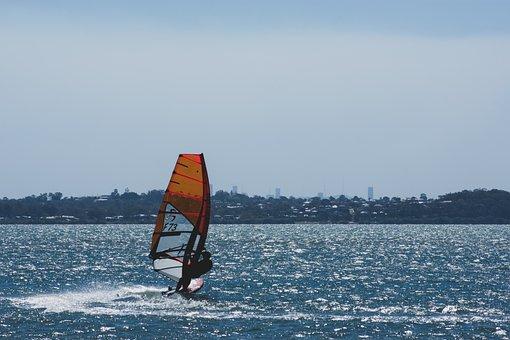 Windsurfing, Sailing, Watersport, Sport, Hobby, Sea