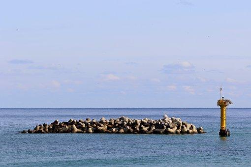 Sea, Breakwater, Seawall, Embankment, Tetrapod, Beach