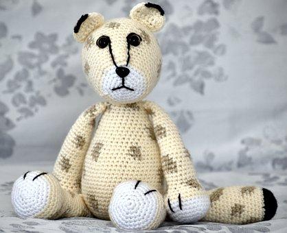 Snow Leopard, Stuffed Toy, Crochet, Toy, Plush Toy
