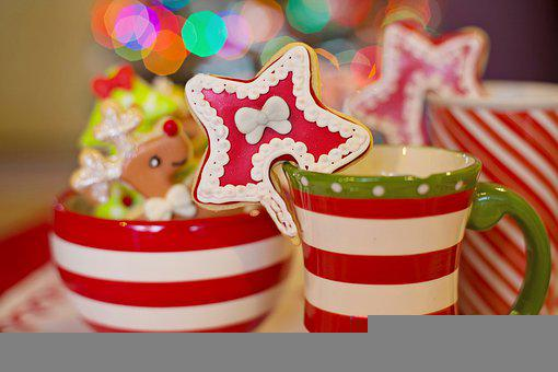 Hot Chocolate, Mug, Christmas Cookies, Sweets