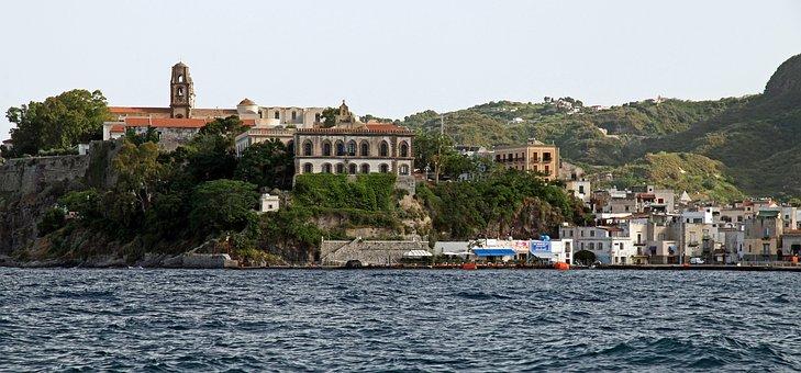 Buildings, Shore, Coast, Sea, Cliff, Port, Island