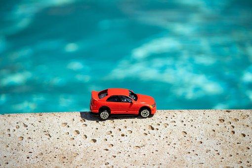 Toy, Car, Pool, Red Car, Edge, Hot Wheels, Matchbox