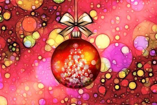 Christmas Ornament, Bow, Ribbon, Ball, Christmas