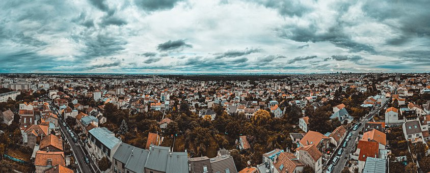 Panorama, Houses, Clouds, Town, Townscape, Village