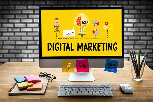 Digital Marketing, Computer, Desk, Workplace, Workspace
