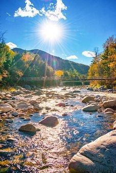 Sunlight, River, Rocks, Autumn, Bridge, Mountains