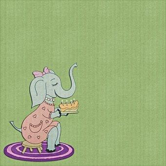 Digital Paper, Elephant, Whimsical Animal, Paper