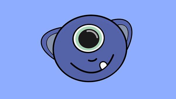 Monster, Cyclops, Eye, One Eye, Creature, Blue, Cartoon