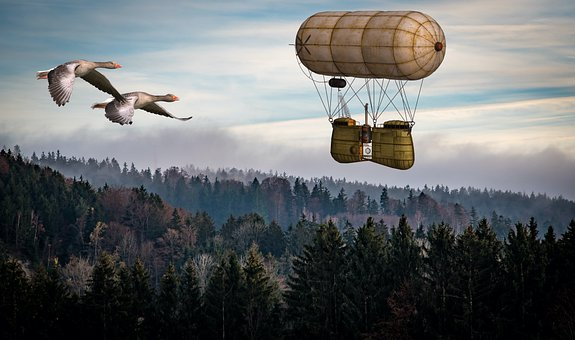 Geese, Airship, Photo Montage, Flying, Flight