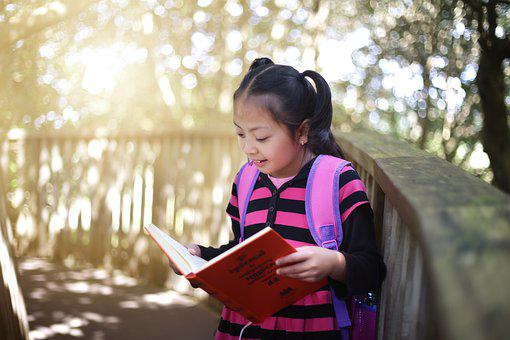 Girl, Reading Book, Outdoors, Reading, Kid, Child