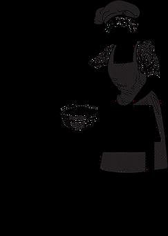 Woman, Cooking, Line Art, Table, Hat, Apron, Kitchen