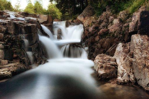 Long Exposure, Waterfalls, Rocky, Rock Formations, Flow