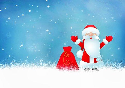 Santa Claus, Christmas, Snow, Winter, Snowfall, Santa