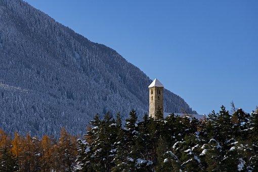 Church, Tower, Mountains, Steeple, Catholic, Religion