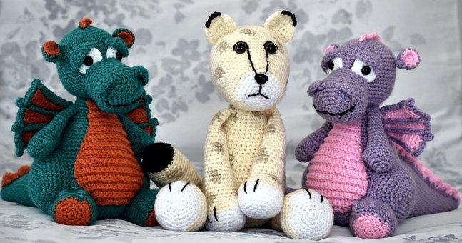 Dragons, Snow Leopard, Stuffed Toys, Crochet