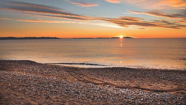 Sunset, Beach, Sea, Ocean, Sun, Clouds, Sky, Skyscape
