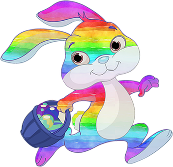 Bunny, Hare, Rabbit, Easter, Eggs, Rainbow, Colorful