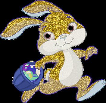 Bunny, Hare, Rabbit, Easter, Eggs, Golden, Glitter