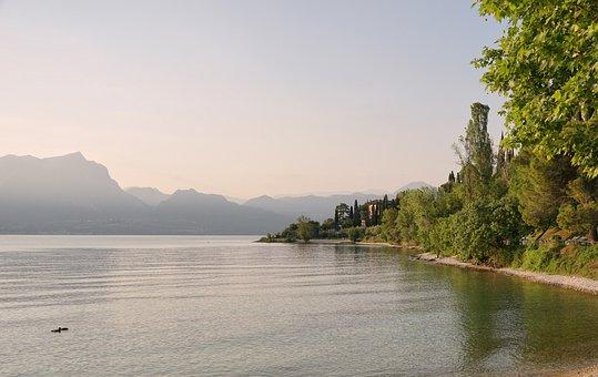 Garda, Lake, Mountains, Water, Mountain Range, Fog