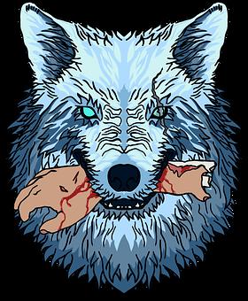 Wolf, Canine, Predator, Hand, Bite, Blood, Gore, Horror