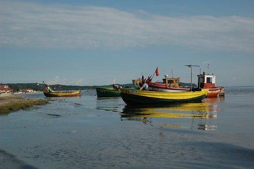Boats, Beach, Sea, Ocean, Moss, Algae, Seashore, Shore