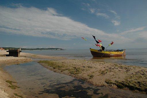 Boat, Beach, Sea, Ocean, Moss, Algae, Seashore, Shore