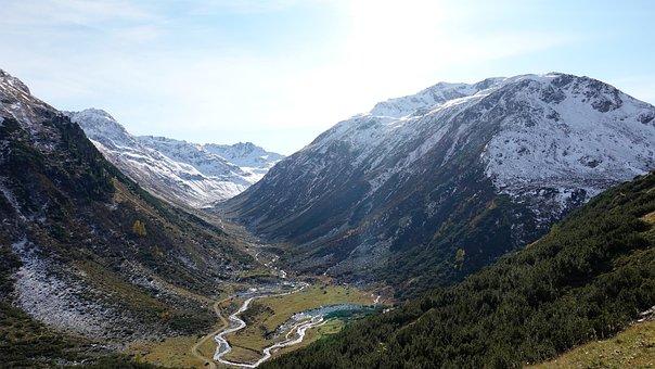 Mountains, Snow, Valley, Peak, Summit, Mountain Range