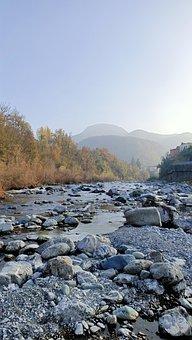 River, Stones, Mountains, Rocks, Sunlight, Stream