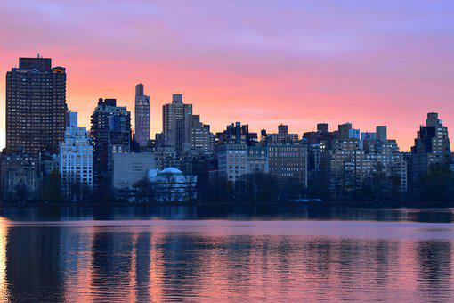 Buildings, Sunrise, Lake, Skyscape, Skyline, Cityscape