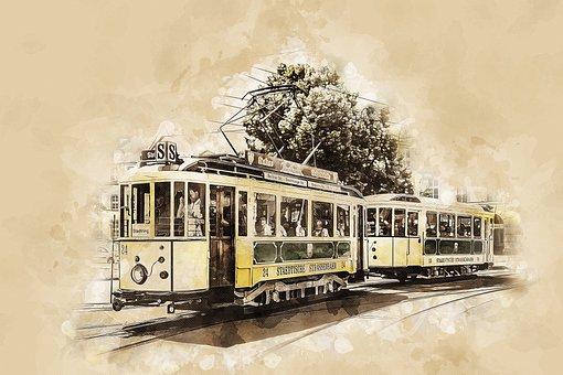 Tram, Tram Car, Train, Vehicle, Tram Tracks, Rails