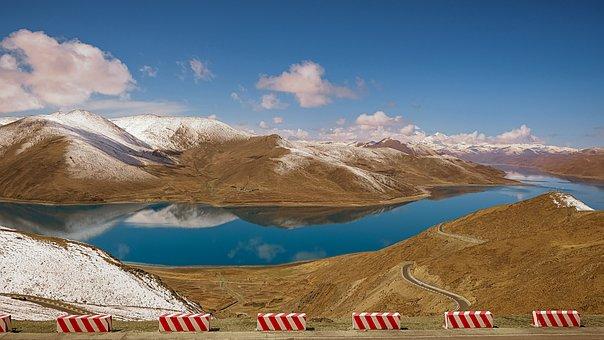 Mountains, Yamdrok Lake, Road, Street, Way, Avenue