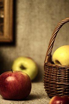 Apples, Basket, Still Life, Fruits, Fruit Basket
