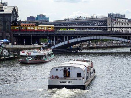 Boats, River, Bridge, Train, Railway Bridge
