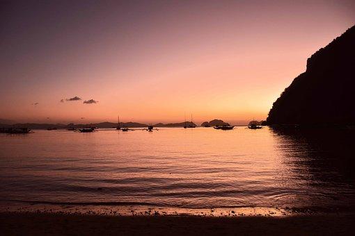 Sunset, Beach, Boats, Cliffs, Silhouettes, Sky, Dusk