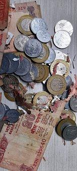 Coins, Bills, Torn, Damaged, Money, Loose Change