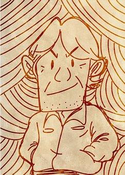 Man, Sketch, Drawing, Cartoon, Funny, Guy, Style, Fun