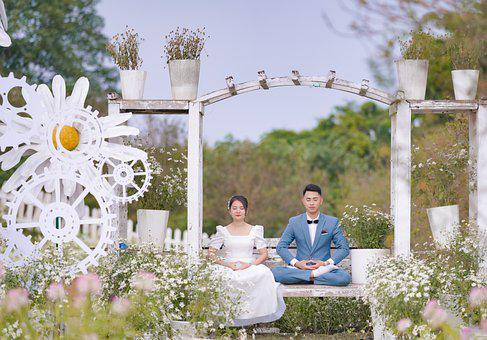 Wedding, Bride And Groom, Meditation, Garden
