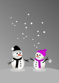 Snowman, Snow Woman, Snow, Couple, Pair, Happy, Joy