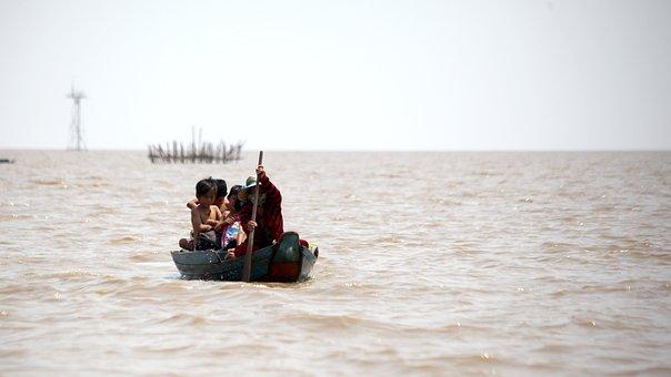 Boat, Canoe, Lake, Children, People, Waves, 쪽배, 생계, 호수