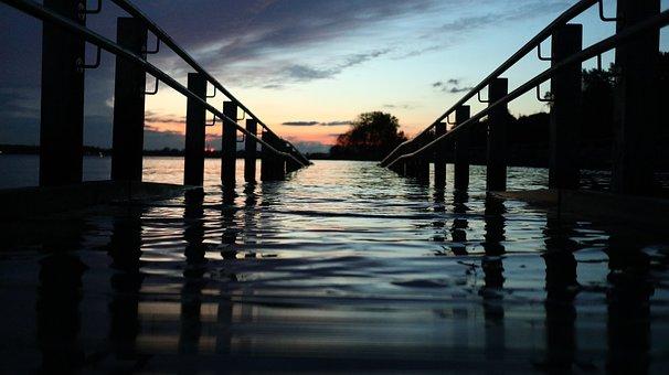 Lake, Railings, Sunrise, Dock, Dawn, Morning