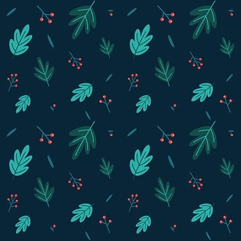Leaves, Pattern, Background, Seamless Pattern, Berries