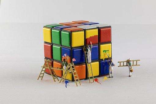 Rubik's Cube, Painting, Miniature, Miniature People