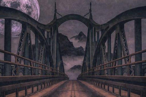 Bridge, Fog, Mist, Moon, Mountains, Road, Foggy