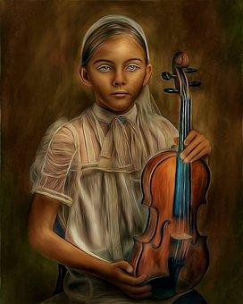 Girl, Portrait, Violin, Instrument, Musical Instrument